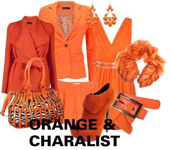 オレンジ 橙色  レディーススーツ