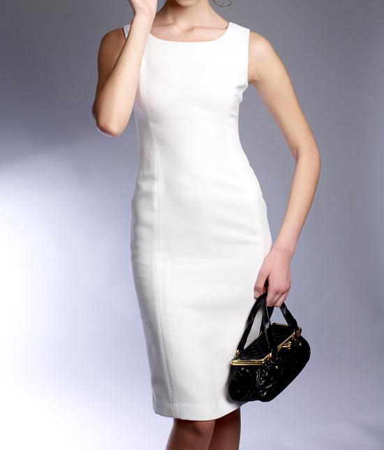 タイトワンピース Uネック<br />White U Neck Sheath Dress
