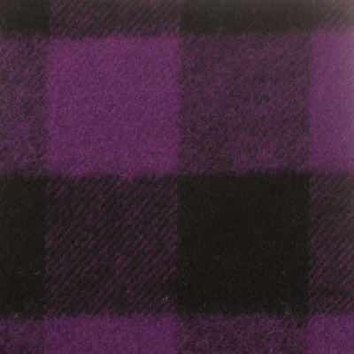 先染シャギー起毛チェック柄 パープル×ブラック(16517-5)