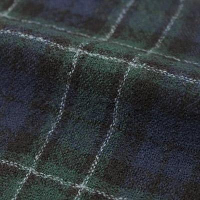 ウールガーゼチェック柄 ブルー×グリーン(76065-3)