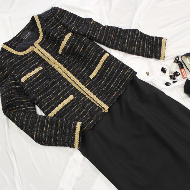 スカートスーツ ブレードがアクセント 通称「シャネルスーツ」<br />Chanel like skirt suit