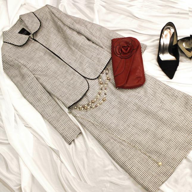ワンピーススーツ 白と黒の上品なサマーツイード<br />White & black tweed summer dress suit