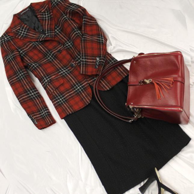 ワンピーススーツ 赤のギンガムチェック柄ジャケット<br />Red checked jacket & dress