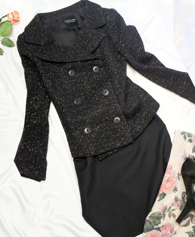 ツイードダブルジャケット あったか素材で冬のオシャレ<br />Black tweed double jacket