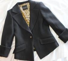 スクエアシングルジャケット レオパード柄の裏地がおしゃれ<br />Single jacket with leopard lining