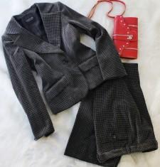 パンツスーツ ベロア千鳥<br />Velour pants suit in houndstooth pattern