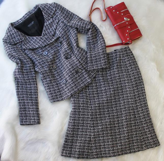 スカートスーツ ツイードダブルジャケット<br />Tweed double jacket & mermaid skirt