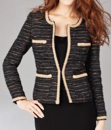 ノーカラージャケット ツイード素材<br />Tweed Collareless Jacket