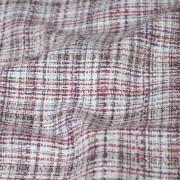 ピンク系のラメ入りチェック柄ツイード。ノーカラージャケットがオススメ!(28129-1)