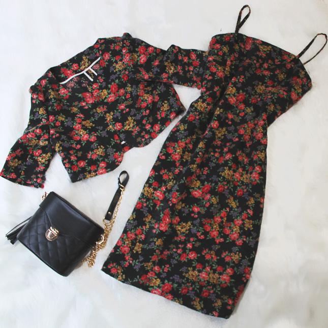 ボレロ&キャミソールワンピース かわいい花柄<br />Camisole dress & bolero in floral print