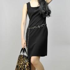 タイトワンピース スクエアネック<br />Tight Square Neck Slim Dress