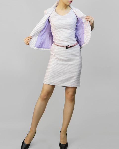 ワンピーススーツ オシャレなハイカラー<br />High Collar Jacket & Sheath Belted Dress