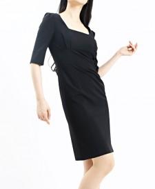 ワンピース ハイウエスト切替七分丈<br />Black High Waisted Dress W/Quarter Sleeve