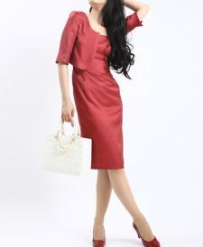 ワンピーススーツ シャンタンボレロキャミ<br />Pink Shantung Bolero & Camisole Dress