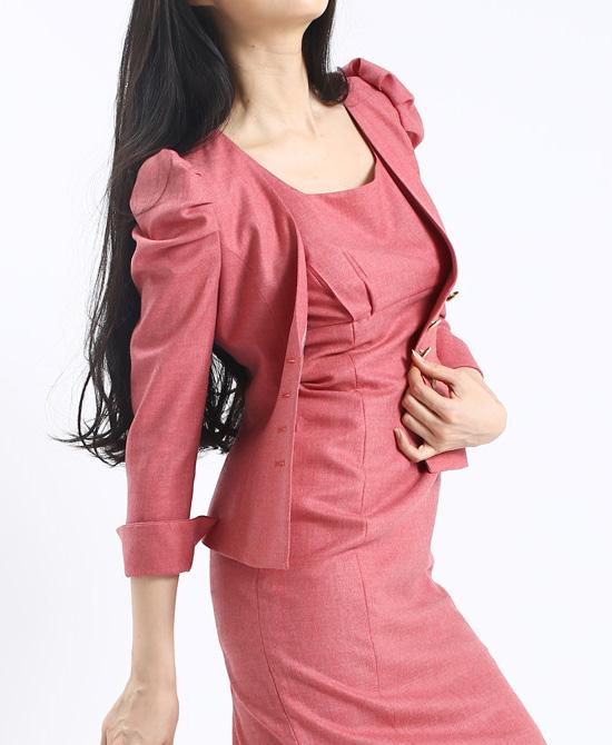 ワンピーススーツ パワーショルダージャケット<br />Power Shoulder Jacket & Sheath Dress