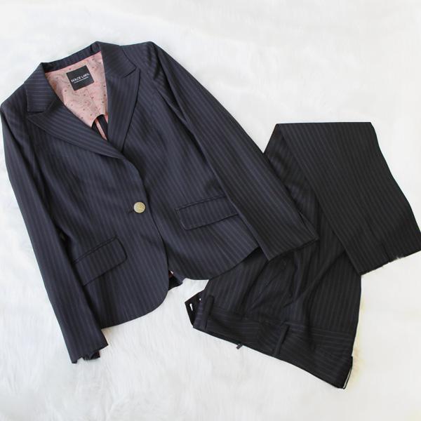 パンツスーツ 可愛い柄裏のビジネススーツ<br />Striped standard business pants suit with apricot lining