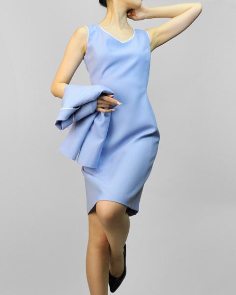 ワンピース 爽やかブルー<br />Blue Jacket & Sheath Sleeveless Dress