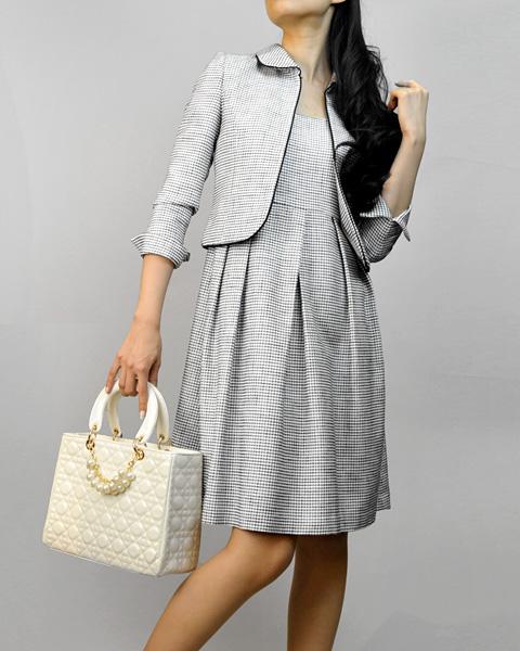 ワンピーススーツ<br />Clover Collar Jacket & Pleated Dress