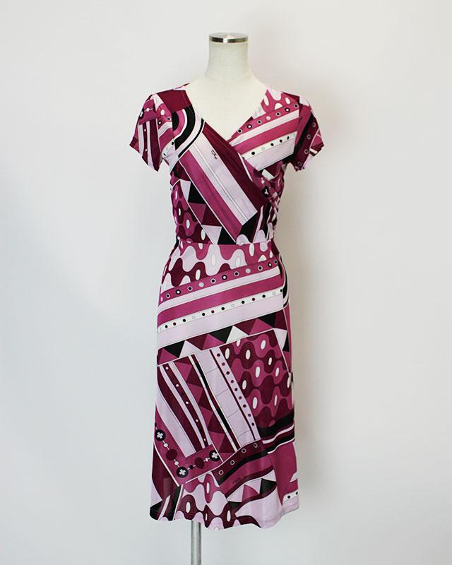 カシュクールワンピース ピンクプッチ柄<br />Pink crossover dress made of Parolari Emilio Pucci fabric