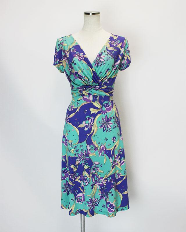 ワンピース さわやかプッチ生地<br />Crossover dress made of Parolari Emilio Pucci print