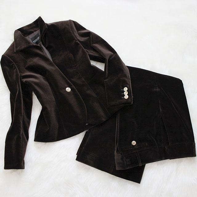パンツスーツ スエード素材<br />Acajou brown suede pants suit