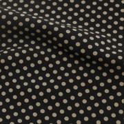 ハイテンションストレッチ ブラック×ベージュ水玉模様(KKPF5200-2-K) / Black & Beige High Stretch Polyester