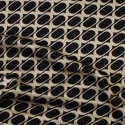 幾何柄プリント ブラック×ベージュ(KKP727-36-J) / Stretchy Black Beige Geometric Print