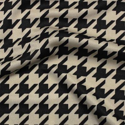 千鳥格子柄プリント ベージュ×ブラック(KKP7474-6-K) / Stretchy Beige Black Houndstooth Print