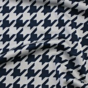 千鳥格子柄プリント ブルー(KKP7474-6-N) / Stretchy Blue Houndstooth Print