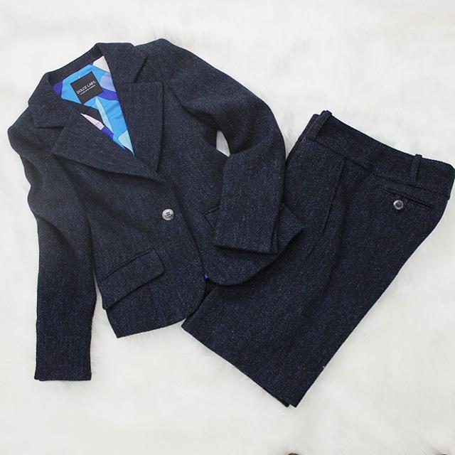 ハーフパンツスーツ ブルーのツイード