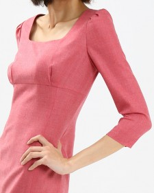 ワンピース ハイウエスト 長袖<br />Pink High Waist Sheath Dress