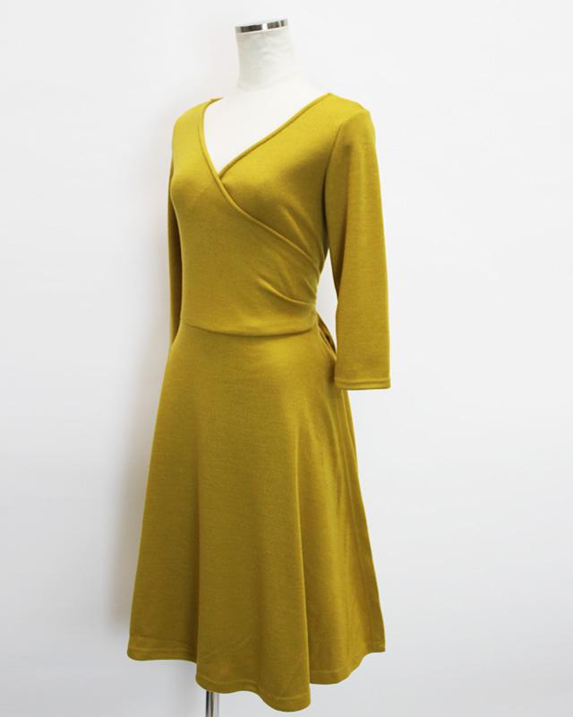 カシュクール イエロー 柔らかな肌触り<br />Acacia yellow soft crossover dress