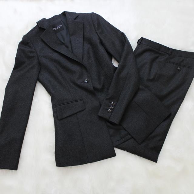 パンツスーツ 暖かい柔軟なメルトン生地<br /> Soft melton pants suit
