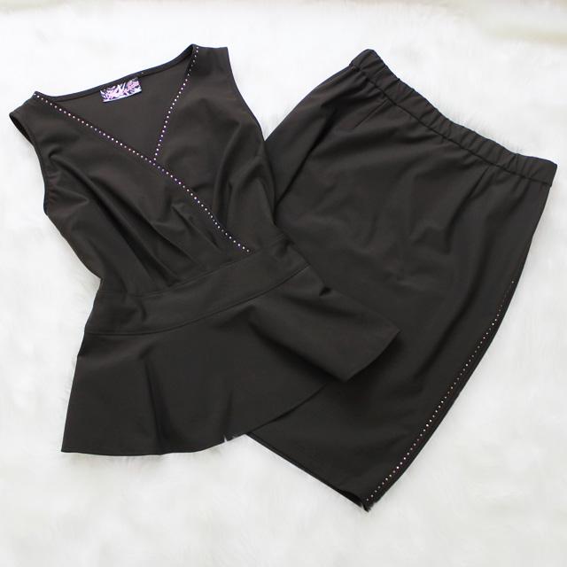 ツーピース スワロフスキー加工<br />Skirt and peplum top with swarovski rhinestones