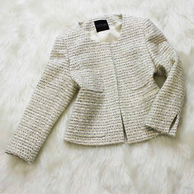 ジャケット ノーカラーツイードジャケット<br />Smoke white tweed jacket