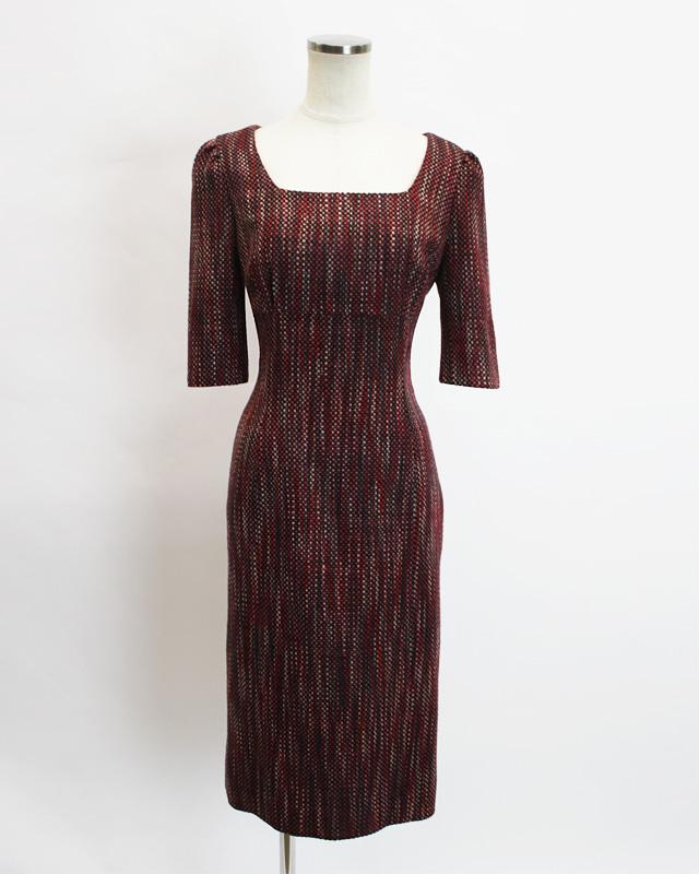 ワンピース ツイードレッド<br />Rosewood red tweed dress