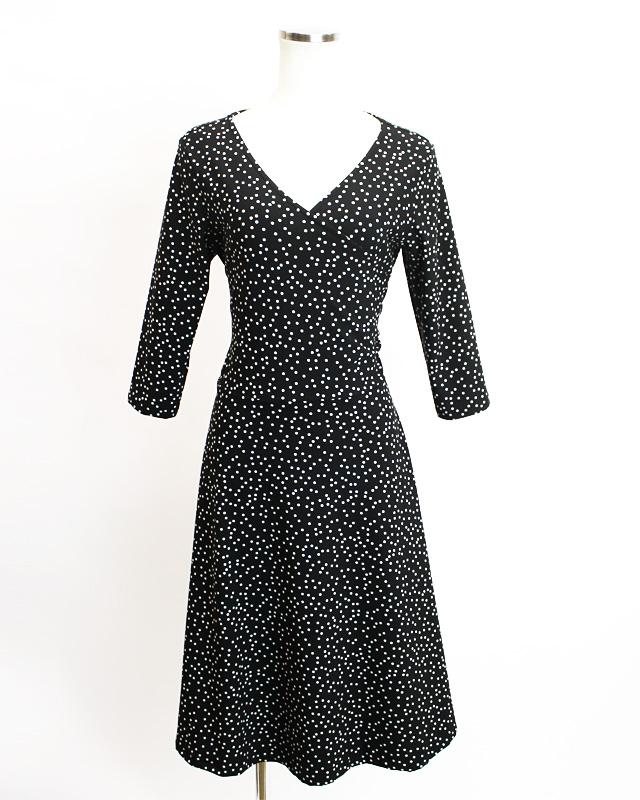 カシュクール ドット柄,br>Black polka dot crossover dress