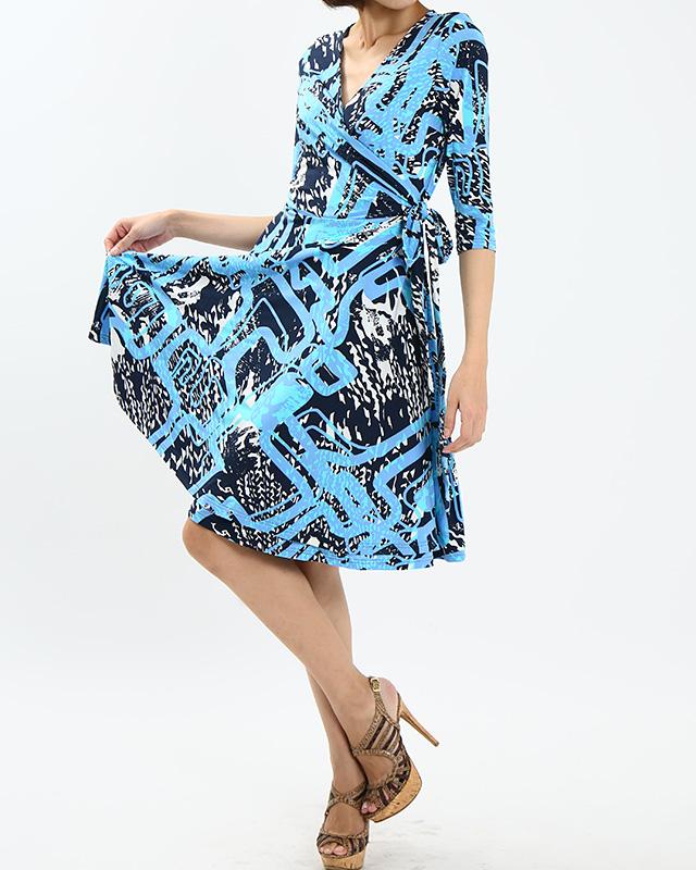 カシュクールワンピース ミラノインポート 明るくさわやかなマリンブルー<br />Blue Abstract Print Wrap Dress, Imported Fabric From Milan