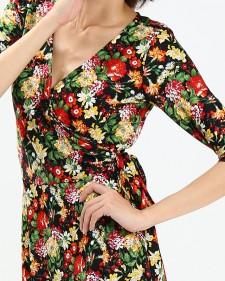 カシュクールワンピース ミラノインポート 花柄フレアーワンピース<br />Floral Print Wrap Dress, Imported Fabric From Milan