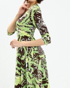 カシュクールワンピース ミラノインポート グリーンカラー<br />Green Abstract Print Wrap Dress, Imported Fabric From Milan