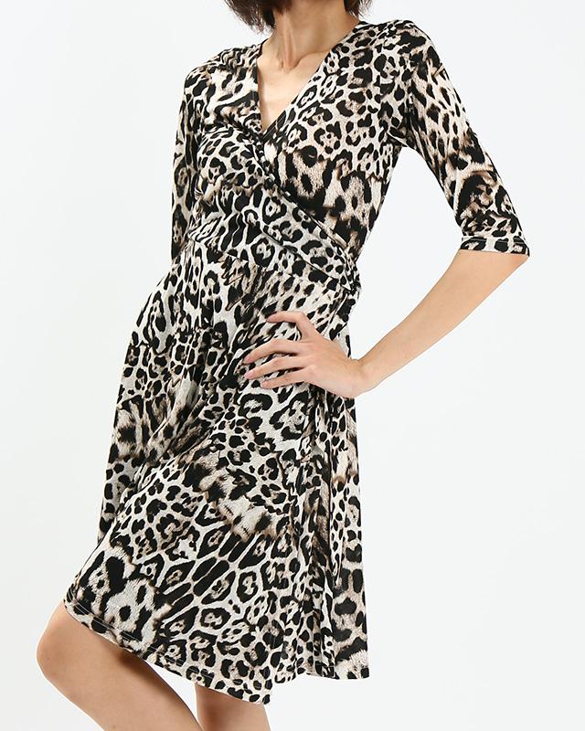 レオパード柄 カシュクールワンピース ミラノインポート <br />Leopard Print Wrap Dress, Imported Fabric From Milan