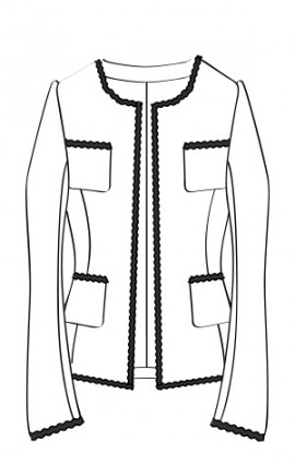 ブレード付ノーカラージャケット(RJ-12B) / Collarless Jacket with Optional Braided Tape