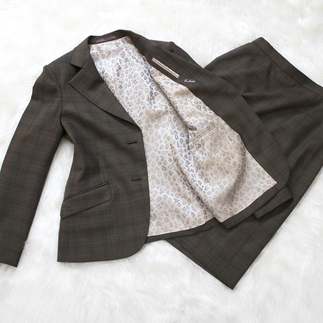 スカートスーツ ブラウン地グレンチェック<br />Dark taupe glen checked skirt suit with leopard lining