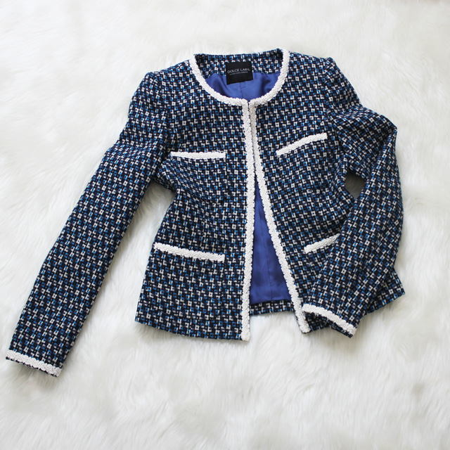 ツイードジャケット 爽やかな青<br />Cool blue tweed jacket