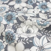 MON TRESOR COLLECTION ストレッチ グレー×ホワイト×ライトブルー 花柄(4417-26)