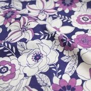 MON TRESOR COLLECTION ストレッチ パープル×ホワイト×ピンク 花柄(4417-27)