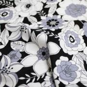 MON TRESOR COLLECTION ストレッチ ブラック×ホワイト×グレー 花柄(4417-30)