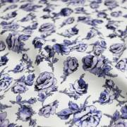 MON TRESOR COLLECTION ストレッチ ホワイト×パープル 花柄(4417-33)