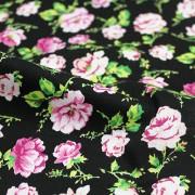MON TRESOR COLLECTION ストレッチ ブラック×ピンク×グリーン 花柄(4417-35) / Black Stretch Cotton Floral