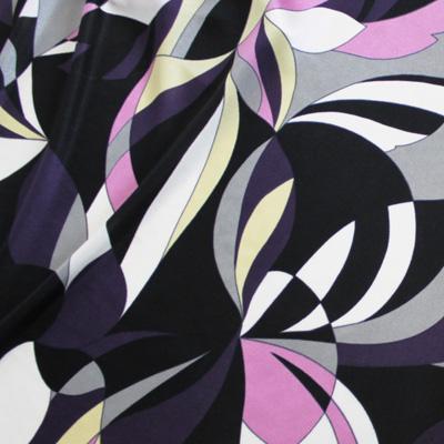 ブライトスムース ブラック×ピンク×グレー他 幾何学模様(KKP7272-80-A) / Black & Pink Stretch Abstract